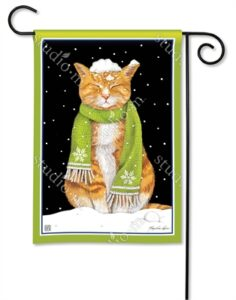 The Backyard Naturalist Holiday Flag Selection for 2020 includes Marmalade Cat wearing a scarf with snow on head yard flag by studio m