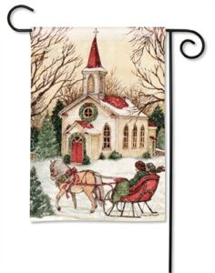 The Backyard Naturalist Holiday Flag Selection for 2020 includes Church with Sleigh Ride yard flag