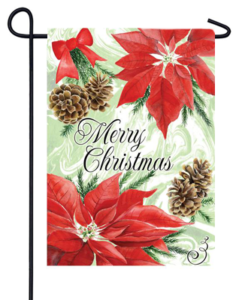 The Backyard Naturalist Holiday Flag Selection for 2020 includes 'Merry Christmas' Poinsettias and Pine Cones yard flag