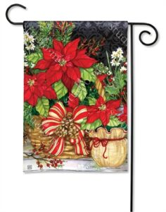 The Backyard Naturalist Holiday Flag Selection for 2020 includes Poinsettia, Burlap, Basket Bow yard flag