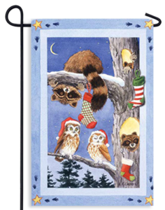 The Backyard Naturalist Holiday Flag Selection for 2020 includes Raccoon, Owls and Stocking Tree yard flag.