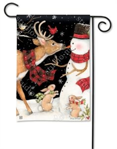 The Backyard Naturalist Holiday Flag Selection for 2020 includes Reindeer in Scarf, Rabbits in Scarves, Snowman in Scarf, Everybody Got Scarves yard flag