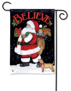 The Backyard Naturalist Holiday Flag Selection for 2020 includes 'Santa Believe' yard flag