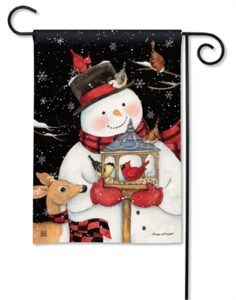 The Backyard Naturalist Holiday Flag Selection for 2020 includes Snowman with Bird Feeder and Cardinals and Reindeer garden/yard flag