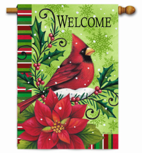 The Backyard Naturalist Holiday Flag Selection for 2020 includes 'Welcome' Cardiinal, Poinsettia and Holly winter scene