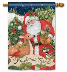 The Backyard Naturalist Holiday Flag Selection for 2020 includes 'Christmas Magic' with Santa and Reindeer, Squirrels, Birds house flag