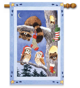 The Backyard Naturalist Holiday Flag Selection for 2020 includes Raccoons and Owls in Stocking Tree Winter nightime scene house flag