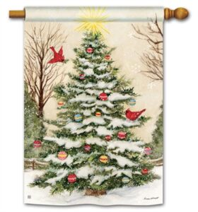 The Backyard Naturalist Holiday Flag Selection for 2020 includes Outdoor Christmas Decorated Tree with Cardinals