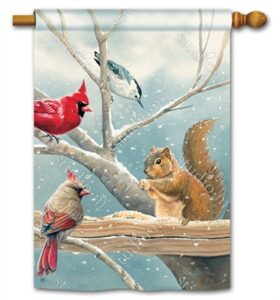 The Backyard Naturalist Holiday Flag Selection for 2020 includes Winter Scene with Rabbit, Cardinals and Chickadee eating Seed