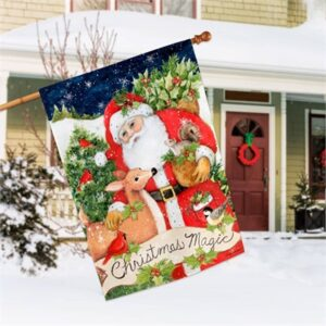 The Backyard Naturalist Holiday Flag Selection for 2020 includes House Flags like 'Christmas Magic' seen here in front of a house.