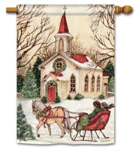 The Backyard Naturalist Holiday Flag Selection for 2020 includes Church Scene with Horse-drawn Sleigh