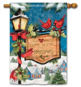 The Backyard Naturalist Holiday Flag Selection for 2020 includes Come Home for Christmas, Cardinals and Lamppost with Sign