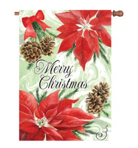 The Backyard Naturalist Holiday Flag Selection for 2020 includes 'Merry Christmas' Poinsettias and Pine Cones