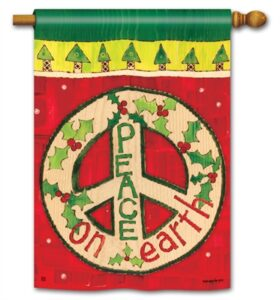 The Backyard Naturalist Holiday Flag Selection for 2020 includes 'Peace on Earth' house flag with Peace Sign