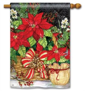 The Backyard Naturalist Holiday Flag Selection for 2020 includes Poinsettias in pots with Bow house flag from Studio M