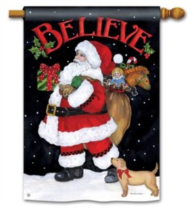 The Backyard Naturalist Holiday Flag Selection for 2020 includes Santa Believe house flag