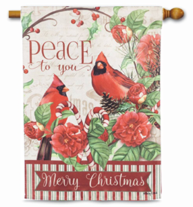The Backyard Naturalist Holiday Flag Selection for 2020 includes 'Peace to You, Merry Christmas' Cardinals, Poinsettias and Candycanes house flag