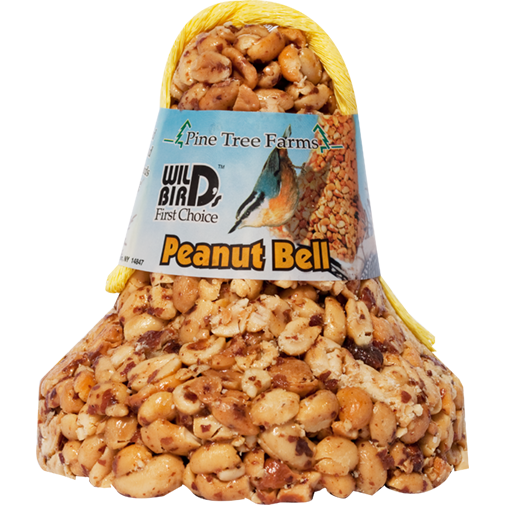 The Backyard Naturalist stocks Wild Bird Food Bells  in a variety of Nuts, Seeds and Dried Fruits, including the Peanut Bell.