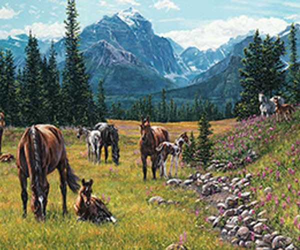 TheBYN has 1000 piece family jigsaw puzzles, including 'Horse Meadow'.