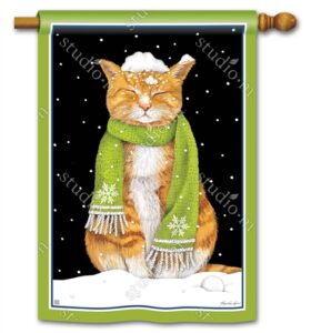 The Backyard Naturalist Holiday Flag Selection for 2020 includes 'It's Cold Outside' with Marmalade Cat wearing Green Scarf in Snow