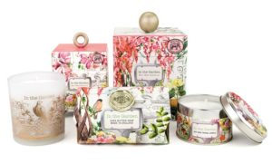 The Backyard Naturalist has 'In the Garden' scented soap, lotion and candles. Michel Design Works new product line for Spring 2018.