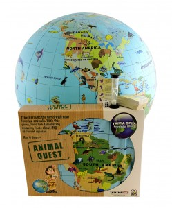 The Backyard Naturalist's favorite global nature-themed game features an unusual inflatable globe instead of a board. Travel around the world, learn fun facts about animals and where they live.