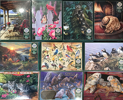The Backyard Naturalist has a fresh batch of Jigsaw Puzzles for the Whole Family, 1000, 500, 375 and 225 piece puzzles.