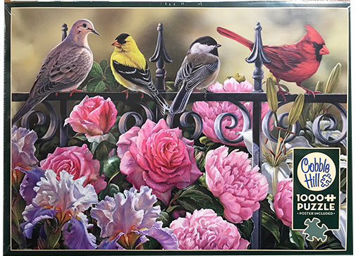 TheBYN has 1000 piece family jigsaw puzzles, including 'Birds on a Fence'.