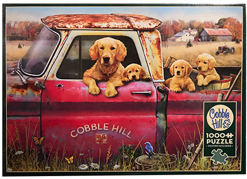 TheBYN has 1000 piece family jigsaw puzzles, including 'Dogs in Pickup Truck.