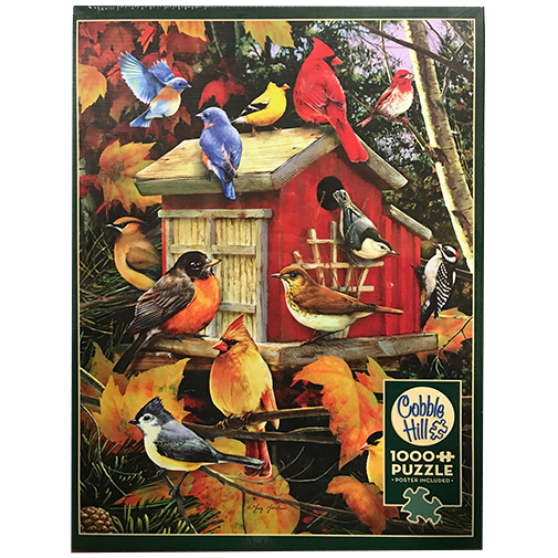 TheBYN has 1000 piece family jigsaw puzzles, including 'Fall Birds'.
