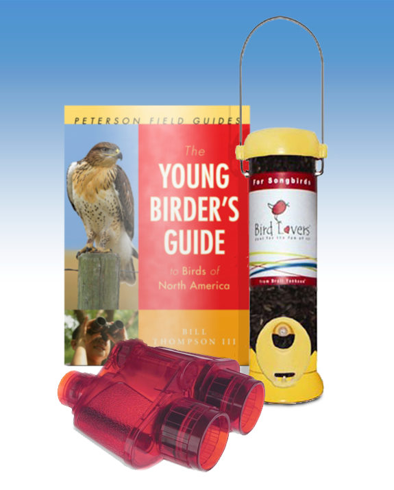 The Backyard Naturalist recommends 'The Young Birder's Guide to North American Birds', binoculars and Droll Yankees Bird Lovers sunflower feeder.