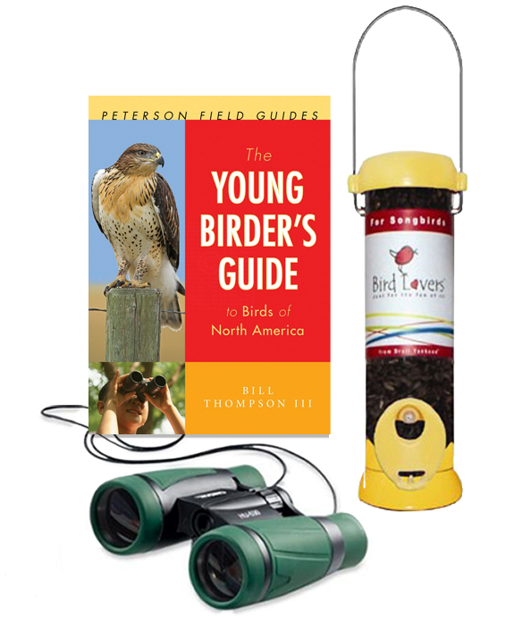 The Backyard Naturalist recommends three basics for beginning birders: Bill Thompson's Young Birders Guide, Droll Yankees Bird Lover Feeder, Carson 30mm Binocular
