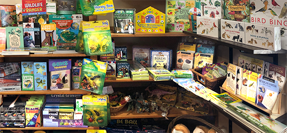 The Backyard Naturalist Kid Corner has nature-themed project kits, games, puzzles, books, toys and more for kids