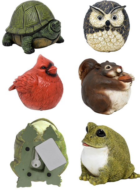 The Backyard Naturalist has Stocky Kritter Key Hiders: turtle, Cardinal, Frog, Owl, Squirrel with magnetic key holder.
