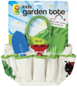 The Backyard Naturalist's Garden Tools and Tote Set, sized for childrens' hands.