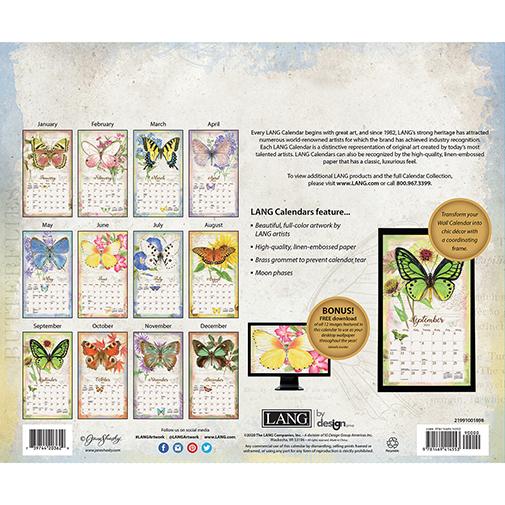 he 2021 Lang Butterflies Wall Calendar is now in stock at The Backyard Naturalist.(back)