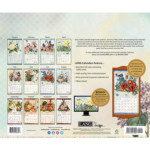 The 2021 Lang Garden Botanicals Wall Calendar is now in stock at The Backyard Naturalist.(back)