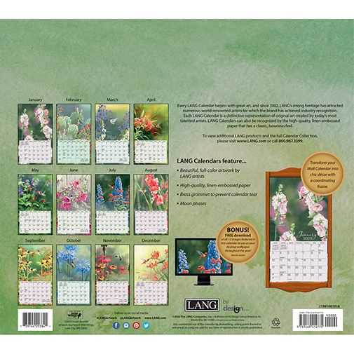 The 2021 Lang Meadowland Wall Calendar is now in stock at The Backyard Naturalist.(back)
