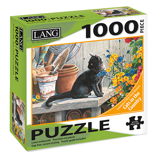 TheBYN has 1000 piece family jigsaw puzzles, including Lang series 'American Cat' by artist Susan Bourdet, Black Cat and planting pots table