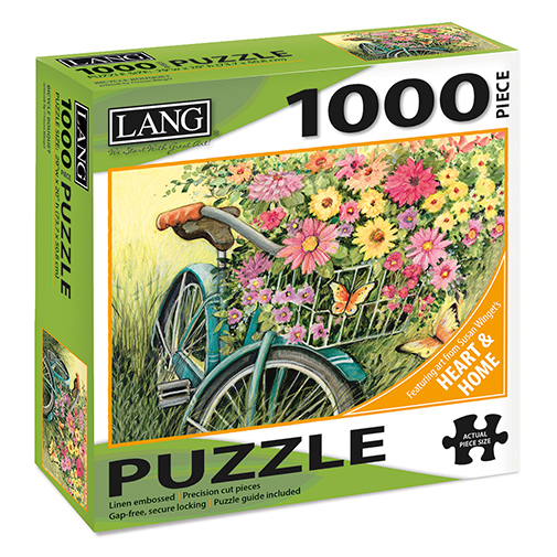 TheBYN has 1000 piece family jigsaw puzzles, including Lang 'Heart and Home' series by artist Susan Winget, Bicycle, Country Scene, Wildflowers, Fence
