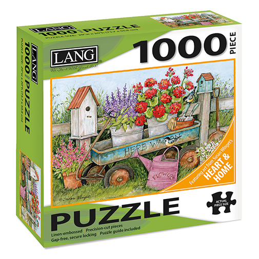 TheBYN has 1000 piece family jigsaw puzzles, including Lang series 'Heart and Home' by artist Susan Winget, Herb wagon and flowers.
