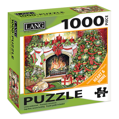 TheBYN has 1000 piece family jigsaw puzzles, including Lang Heart and Home series, Holiday fireplace, sleeping dog and Christmas tree