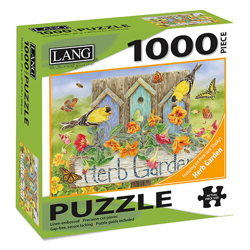 TheBYN has 1000 piece family jigsaw puzzles, including the series 'Herb Gardan' art by Jane Shasky with Goldfinches and Burd Houses.