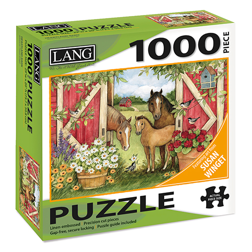 TheBYN has 1000 piece family jigsaw puzzles, including Horse Barn Stable art by Susan Winget.