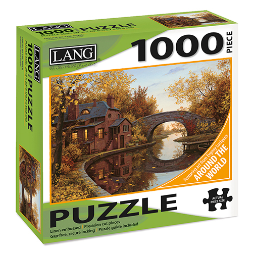 TheBYN has 1000 piece family jigsaw puzzles, including this one featuring art by Evgeny Lushpin, Around the World. House on a lake and stone bridge.