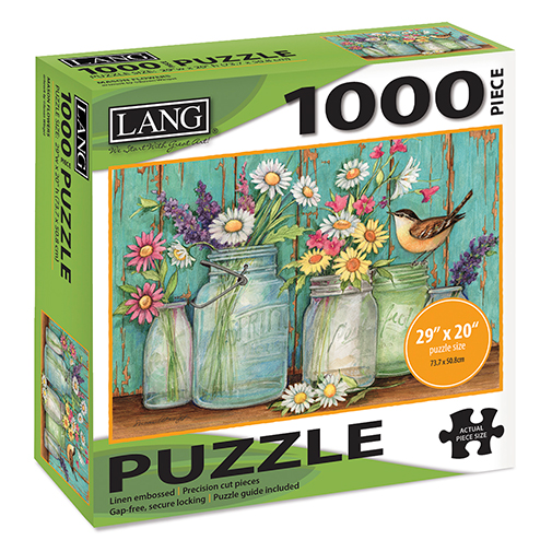 TheBYN has 1000 piece family jigsaw puzzles, including this one featuring a Wren, Mason Jars and Flowers.