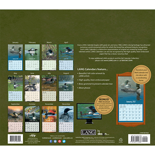 The 2021 Lang Loons On the Lake Wall Calendar is now in stock at The Backyard Naturalist. (back)