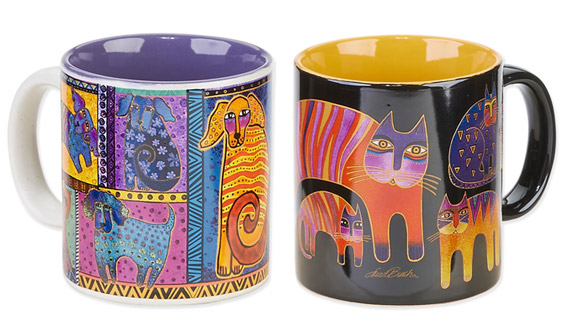 The Backyard Naturalist has Laurel Burch's illustrated coffee mugs in stock: horses, dogs and cats in vivid colors.