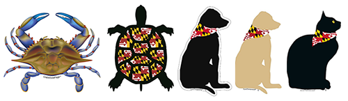 The Backyard Naturalist has Maryland flag graphic icons on totes, hats, magnets, decals and more. Classic Maryland symbols include Blue Crab, Turtle, Black Cat, Yellow Labrador and Black Labrador.