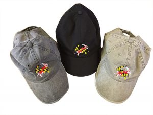 The Backyard Naturalist's Maryland Crab Baseball Caps, in gray, black and khaki.
